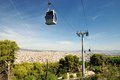 Funicular and view of barcelona modern cable car in city spain Stock Images