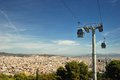 Funicular and view of barcelona modern cable car in city spain Royalty Free Stock Image