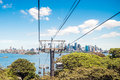 Funiculars above taronga zoo with sydney skyline view Royalty Free Stock Photography