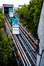 Funiculars going up and down in the old portion of quebec city canada june vieux Royalty Free Stock Photo