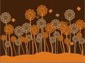 Funky brown & orange retro flowers & butterflies Royalty Free Stock Photo