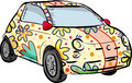 Funky car small in multicolours Royalty Free Stock Photography