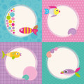 Funky cartoon fish greeting cards collection colorful set on blue bubbles pink polka dot violet rectangular and green zig zag Royalty Free Stock Images