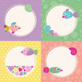 Funky cartoon fish greeting cards collection colorful set on violet zig zag green bubbles yellow polka dot and orange hearts Royalty Free Stock Image
