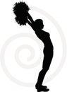 Funky cheerleader silhouette Royalty Free Stock Photo