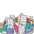 Funky city doodle illustration Stock Image