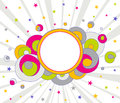 Funky Colorful Background with Stars and Circle. Abstract vector Royalty Free Stock Photo