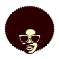 Funky cool man with afro haircut and sunglasses vector illustration Royalty Free Stock Photo