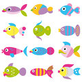 Funky fish collection pattern colorful cartoon set on white background Stock Photos