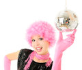 Funky girl disco ball Stock Image