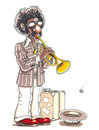 Funky jazz busker hand drawn trumpet player Royalty Free Stock Photos