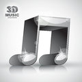 Funky metallic double musical note 3d modern style icon isolated Royalty Free Stock Photo