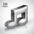 Funky metallic musical note 3d modern style icon isolated. Royalty Free Stock Photo