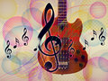 Funky music background with guitar Stock Photography