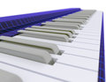 Funky music keyboard with tron style box and silver and white keys Stock Photography