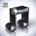Funky musical note 3d modern style icon isolated. Royalty Free Stock Photo