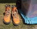 Funky orange boots Royalty Free Stock Photo