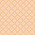 Funky orange and white geometric seamless pattern with crosses, circles, squares Royalty Free Stock Photo