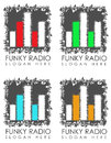 Funky radio signs illustrated set of with graphical equalizers white background with copy space Stock Photography