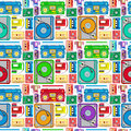 Funky s themed audio equipment seamless tile super retro styled illustration of retro pattern creating a works as an amazing Stock Photo