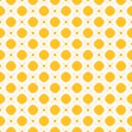 Funky yellow vector geometric seamless pattern with circles, squares and crosses Royalty Free Stock Photo