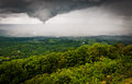 Funnel cloud and spring rainstorm over the shenandoah valley se seen from skyline drive in national park virginia Royalty Free Stock Images