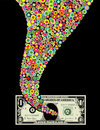 Funnel of color and dollar bill Royalty Free Stock Photo