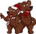 Funnny couple christmas bear cartoon Stock Photos