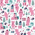 Funnny pigs seamless colorful cartoon pattern. Symbol of the 2019 new year holidays background Royalty Free Stock Photo