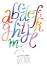 Funny abc alphabet letters watercolor set Royalty Free Stock Photo