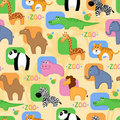 Funny African animals seamless background