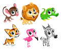 Funny african animals vector cartoon isolated characters Stock Image