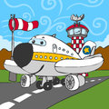 Funny airplane on airstrip and control tower detailed illustration of a this illustration is saved in eps with color space in rgb Royalty Free Stock Image