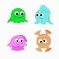 Funny aliens four colored cartoon Royalty Free Stock Photos