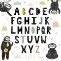 Funny alphabet with cute sloths. Abc for children Royalty Free Stock Photo