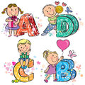 Funny alphabet with kids abcd contains transparent objects eps Royalty Free Stock Image