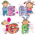 Funny alphabet with kids efgh contains transparent objects eps Stock Image