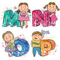 Funny alphabet with kids mnop contains transparent objects eps Royalty Free Stock Image