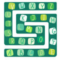 Funny alphabet. Vector illustration of a board game with the alphabet