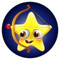 Funny amur star with bow and arrow on blue background