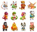Funny animal in the Chinese zodiac, Rat, ox, tiger, rabbit, dragon and snake, horse, sheep, monkey, rooster, dog and pig