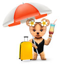 Funny animal in swimsuit with umbrella and baggage