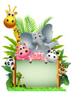 Funny animal wildlife cartoon with blank board Royalty Free Stock Images