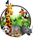 Funny animal wildlife cartoon collection Royalty Free Stock Image