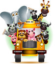Funny animal on yellow school bus vector illustration of Stock Photos