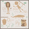 Funny animals alphabet for kids l to p cute zoo in vector m n o letters Stock Photo