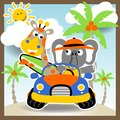 stock image of  Funny animals cartoon on car in the beach at summer