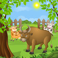 Funny animals cloven hoofed on the lawn vector illustration Royalty Free Stock Photos