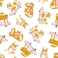 Funny animals drink coffee and ride a skateboard. Vector seamless pattern with cats and dogs.