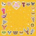 Funny Animals Happy birthday. orange Polka dot background. Vector